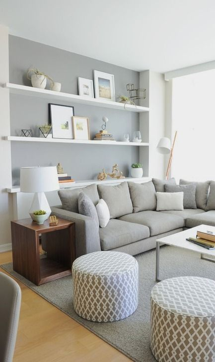 Living room gray wall color design ideas 40