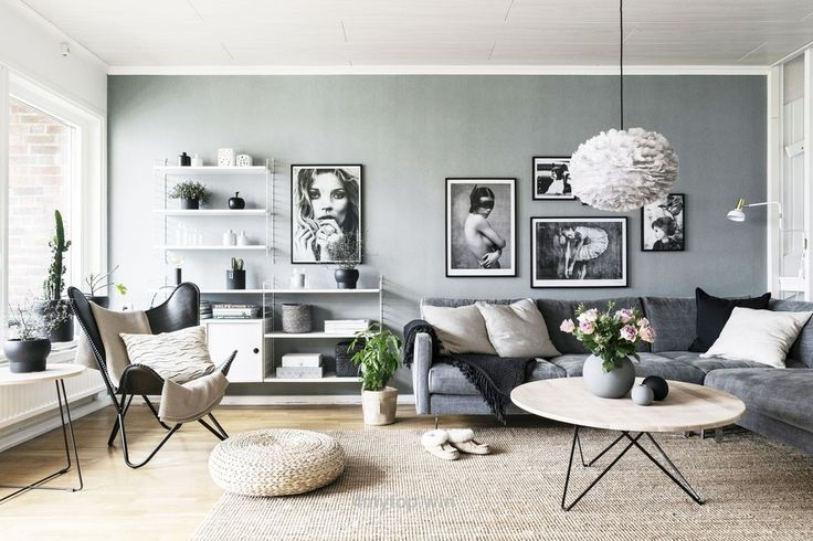 Living room gray wall color design ideas 41