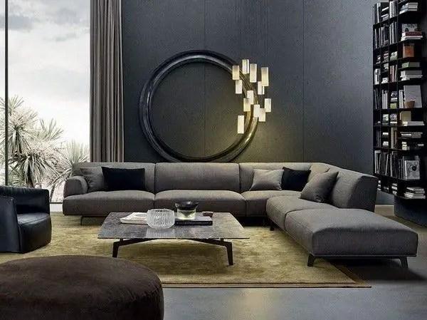 Living room gray wall color design ideas 45