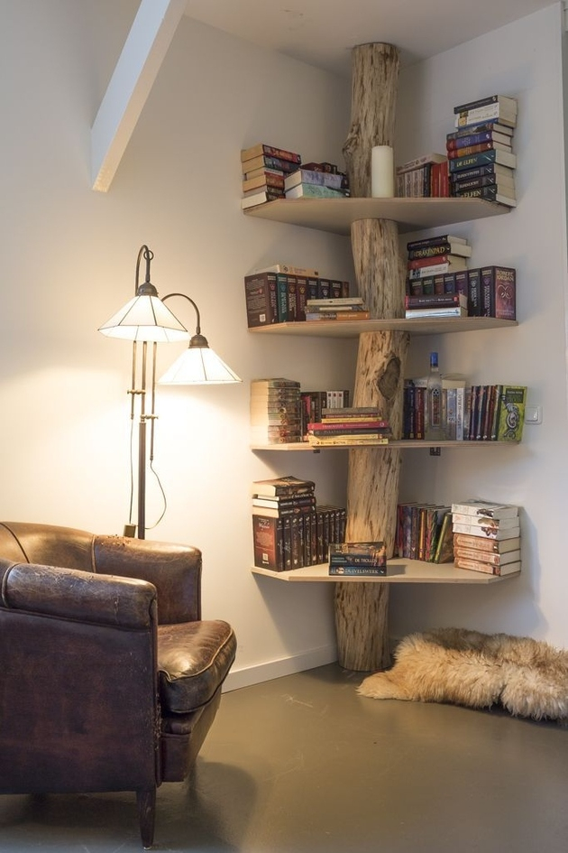 An amazing bookshelf combined with large wood buffer in the middle to beautify your mini library