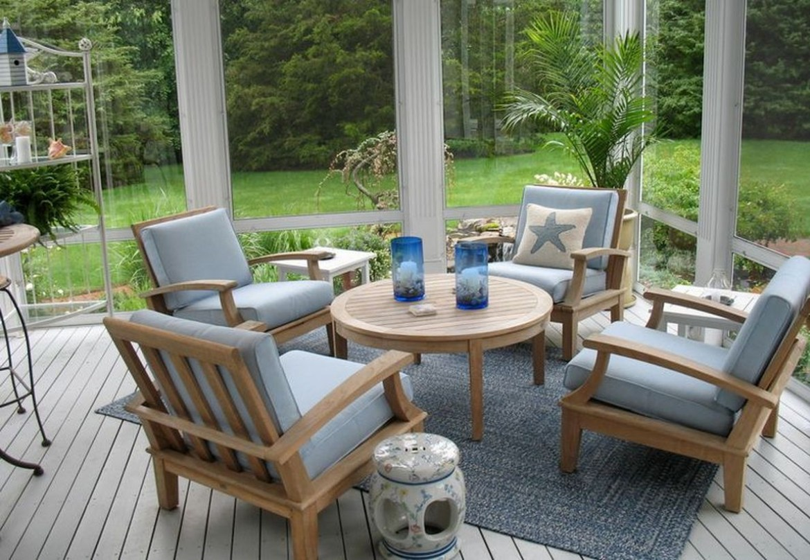 An amazing natural teak wood for round wooden table, teak wood chairs and teak wood floor