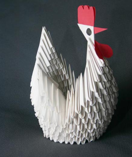 An amazing paper crafts ideas with chicken shape, white color and red comb