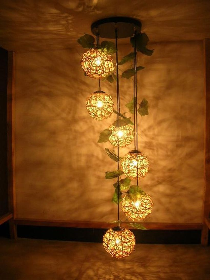 An interesting natural ornament elements for summer with woven six balls pendant lights made of rattan to look cute
