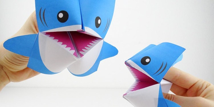 Beautiful paper crafts ideas with shark image, blue and white color