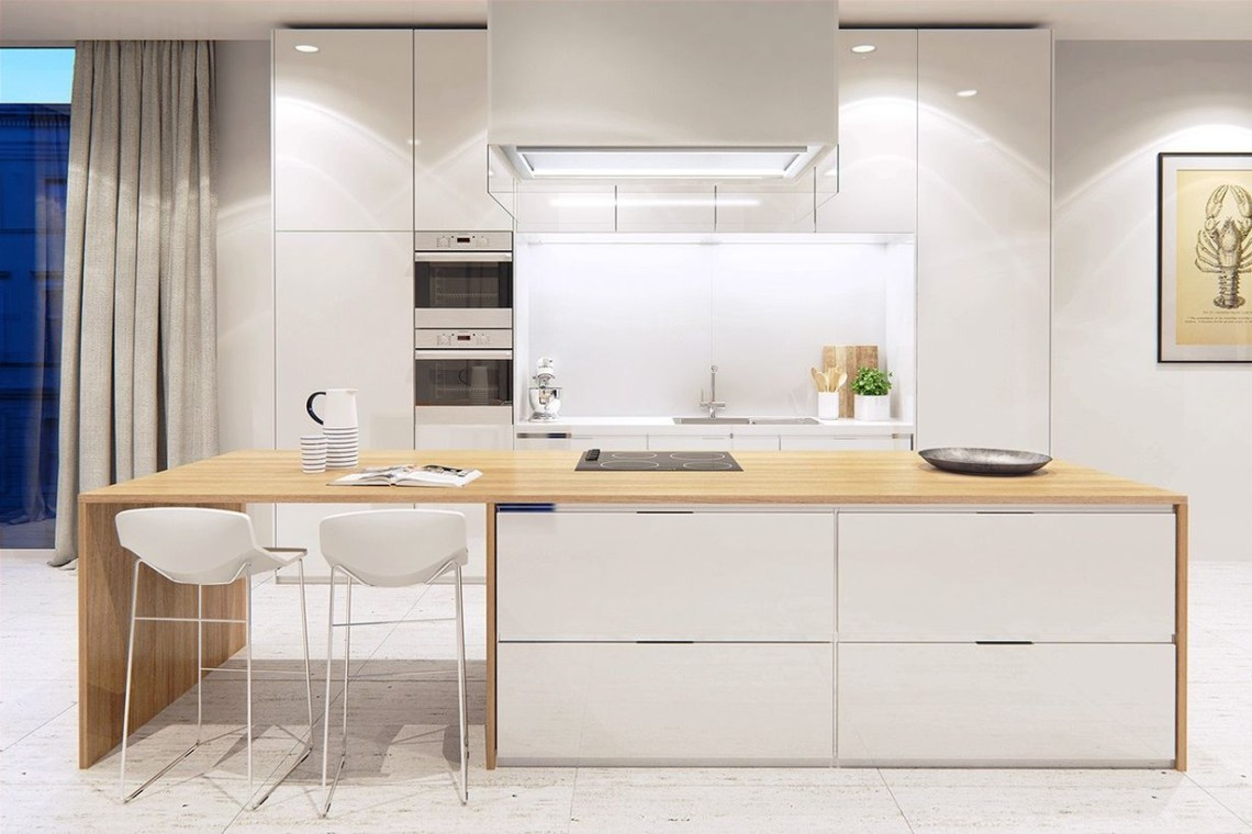 Charming white kitchen design with white chairs, white walls, white storage cabinet, wooden table to facilitate activities