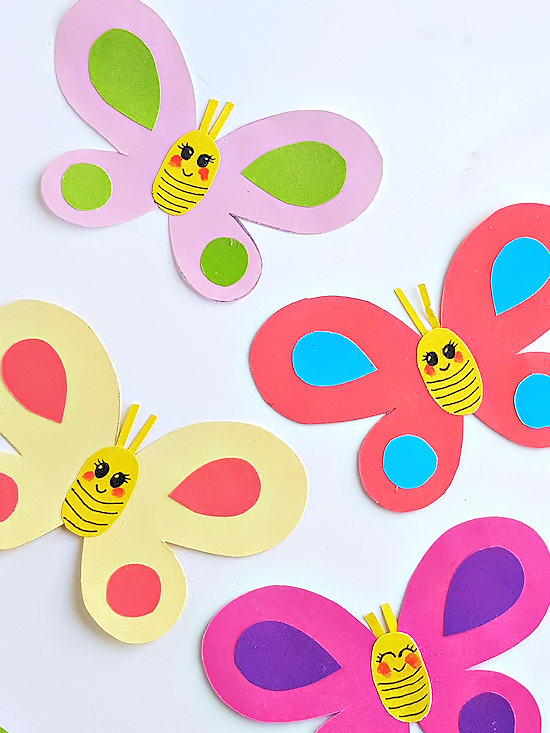 Cute paper craft ideas with colorful butterflies and colorful