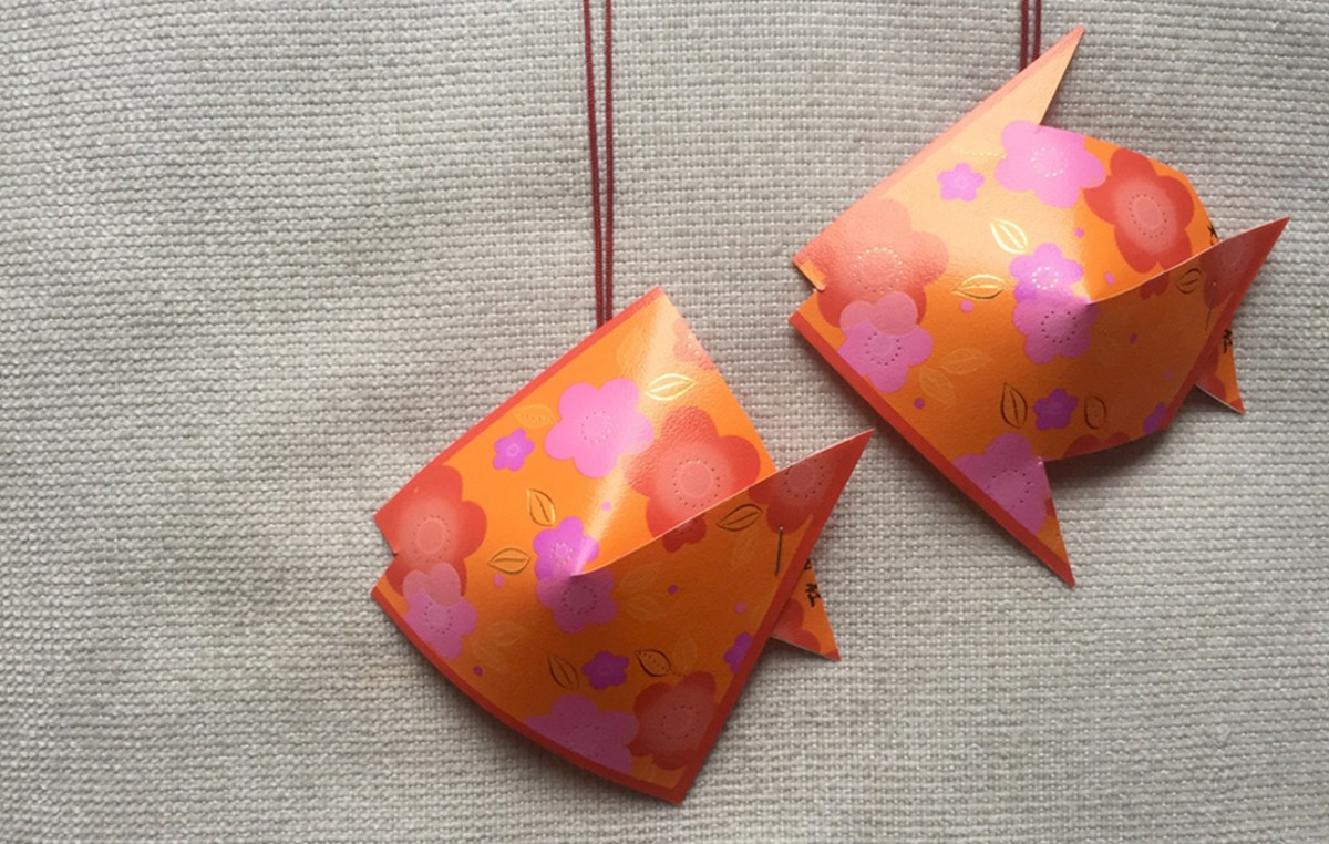 Hanging decoration unused items crafts with ang pow fish to complete your classrom