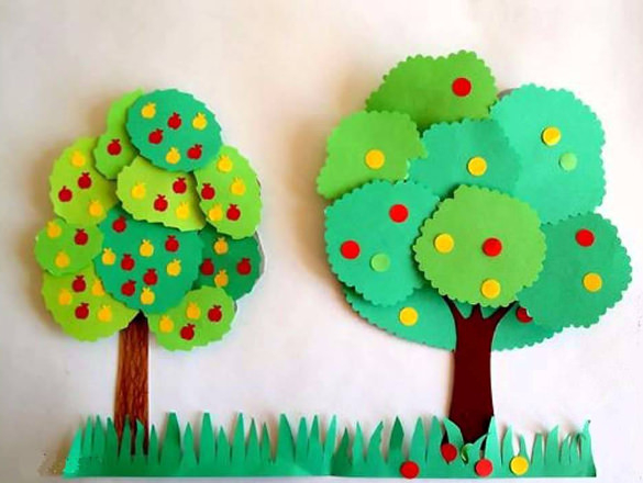 Simple paper craft project for children with apple trees, green color to make more your room fresh