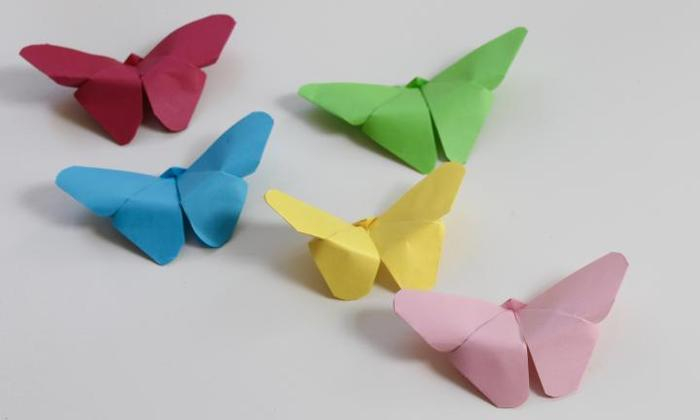 Simple paper crafts ideas with butterflies shaped, red yellow green and blue color to complete your classroom