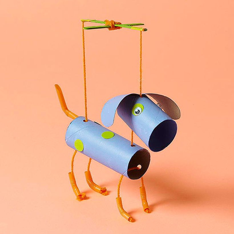 Stunning puppy puppet from unused items crafts to make children happy
