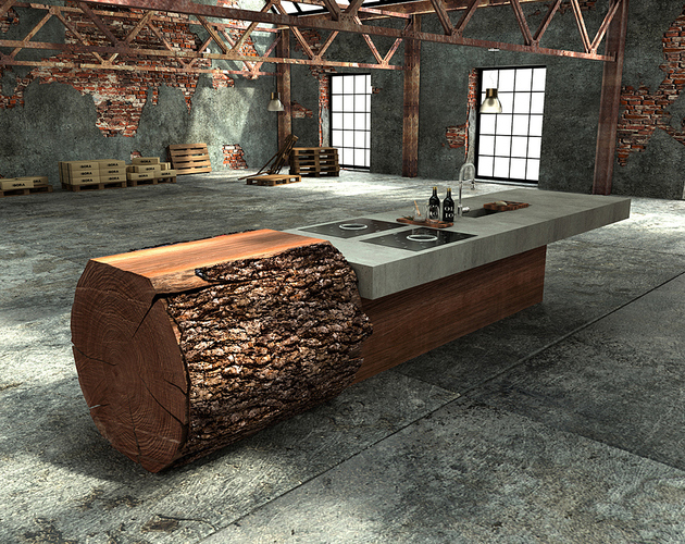 Unique nature furniture for kitchen island with one large tree trunk to beautify your kitchen