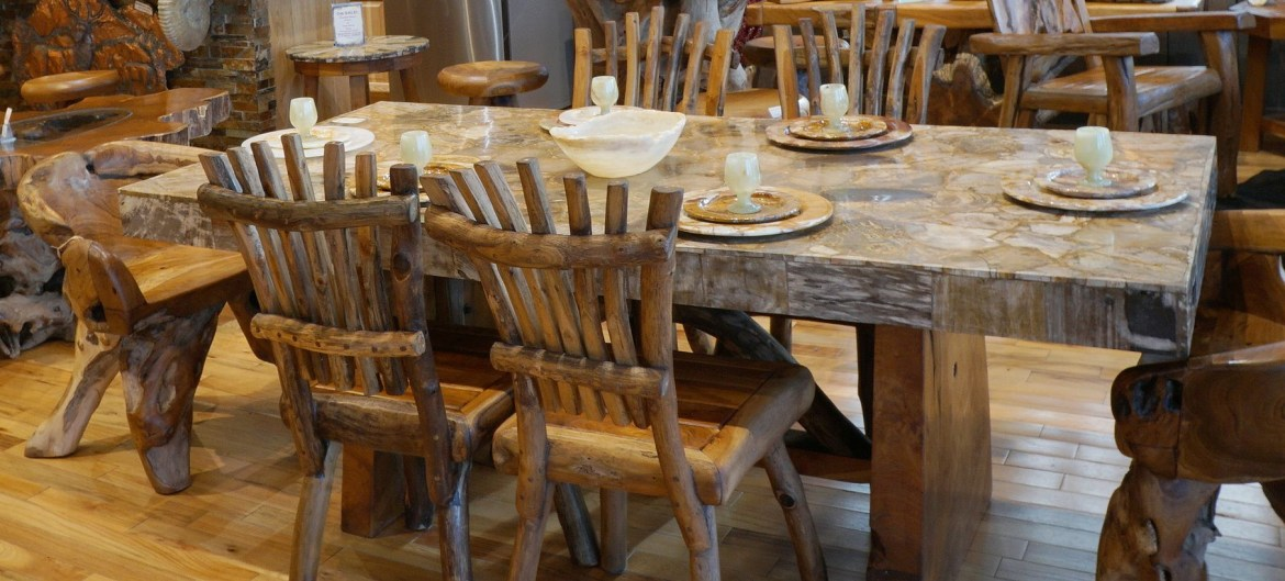 An awesome dining table teak wood furniture with wooden floor and teak wooden chairs