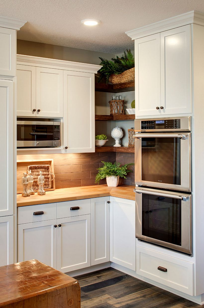 Wooden hanging rack at the corner are perfect to occupy tight spaces between on cabinet