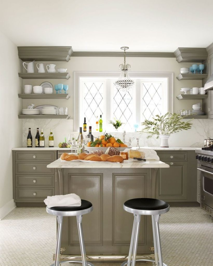 Wooden hanging rack on either side of a window to put some plates and glasses for your dream kitchen