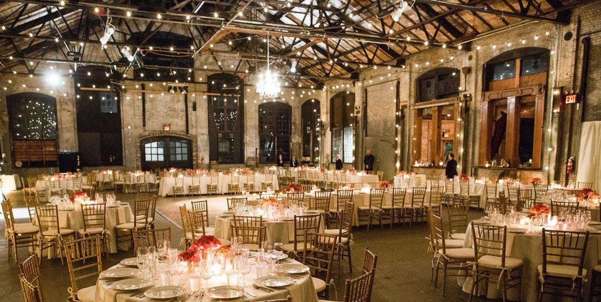 A comfortable indoor venue for fall wedding with basilica hudson features, industrial windows, brick walls, terracotta, ceiling, and tiles the perfect rustic setting for your big day.