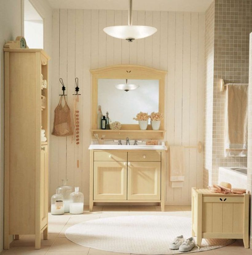 A creative home paint colors with a beige bathroom, tiles, vintage rustic furniture and a window for natural light
