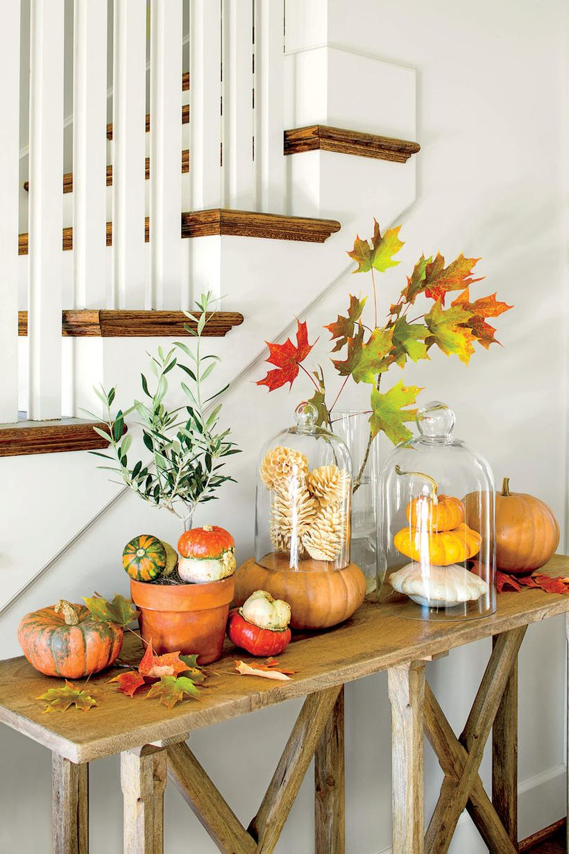 An amazing pumpkin ornaments with orange color for entryway decoration