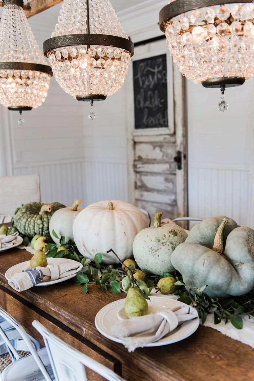 An awesome pumpkin ornaments with rustic and pears to create beauty
