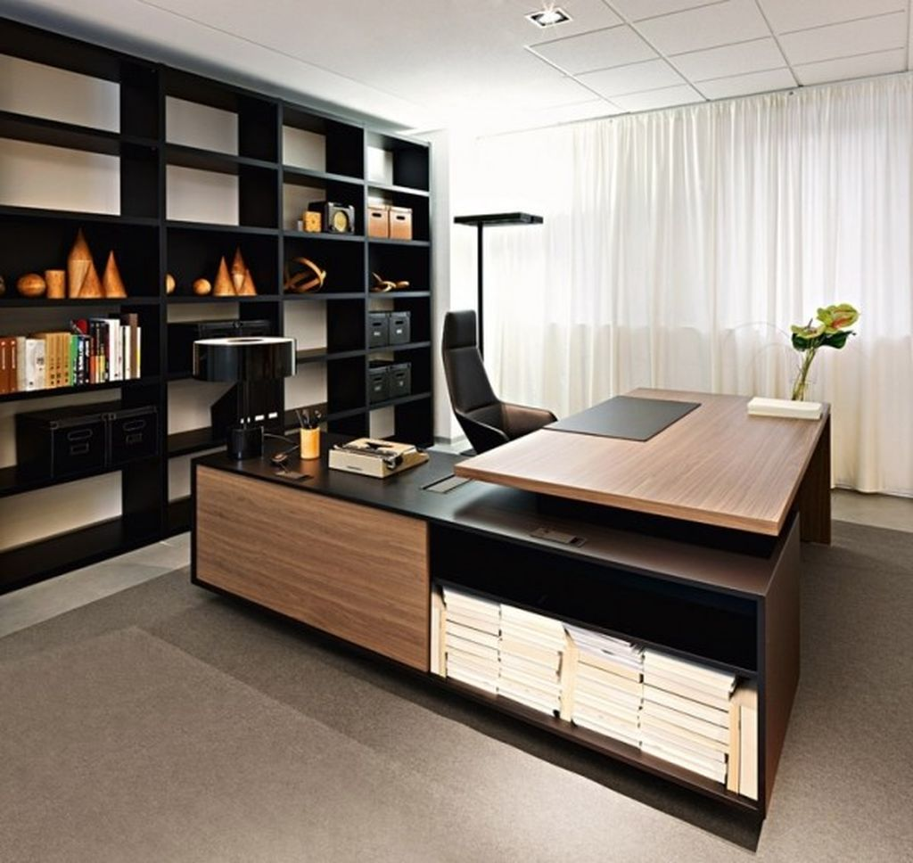 An awesome masculine desk with black brown l shaped desk to complete your office home