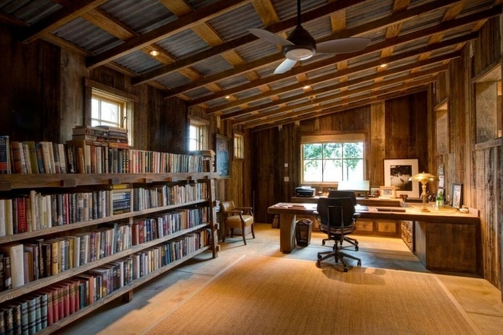 An awesome wooden home office with wooden bookshelves to perfect your home office