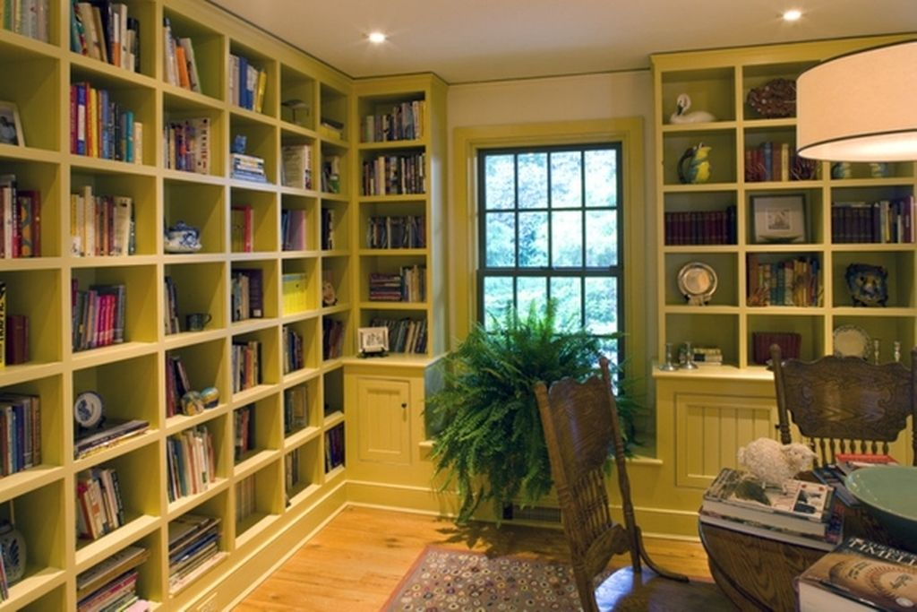 An incredible green home office bookshelves to perfect your home office design
