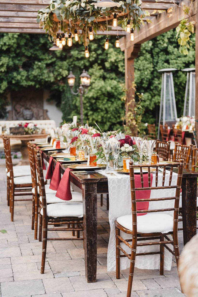 An interesting outdoor venue for fall wedding with romance of the fall season will be apparent in the outdoor courtyard which features white paper lanterns and mini-string lights.