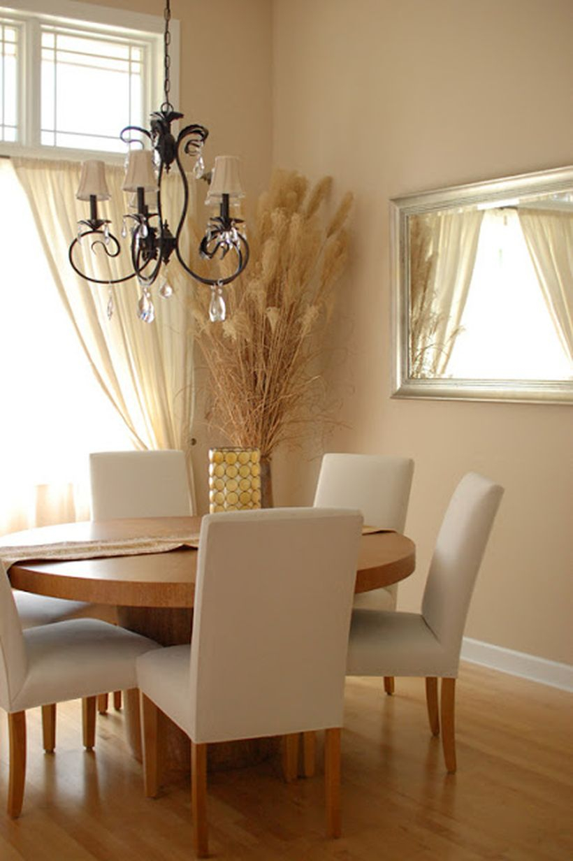 Beige color in the dining room to make more elegant