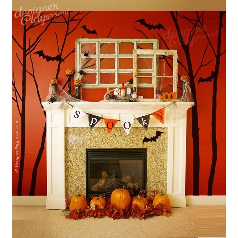 Creative orange pumpkin fireplace decoration ideas