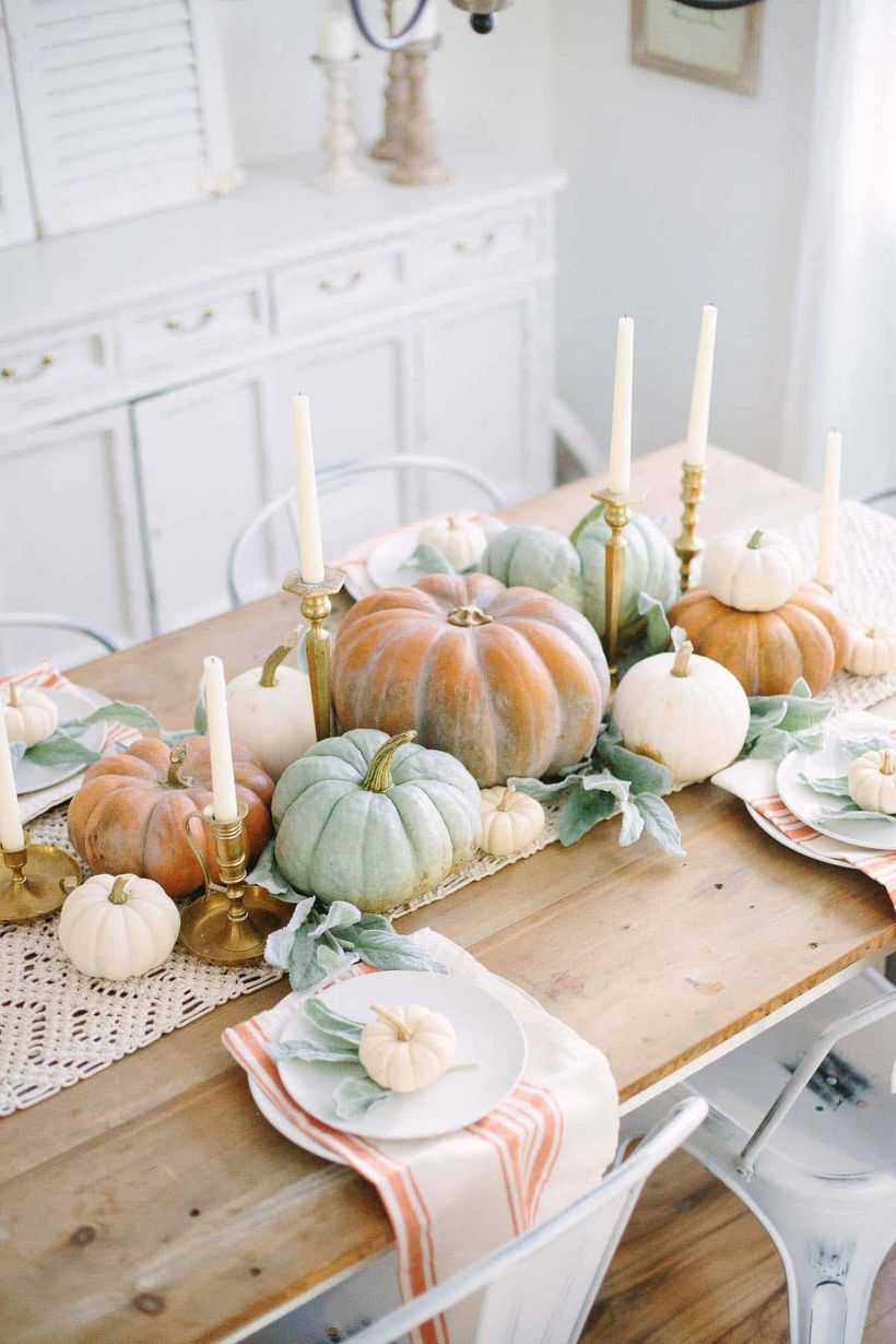 Dining table fall centerpiece.