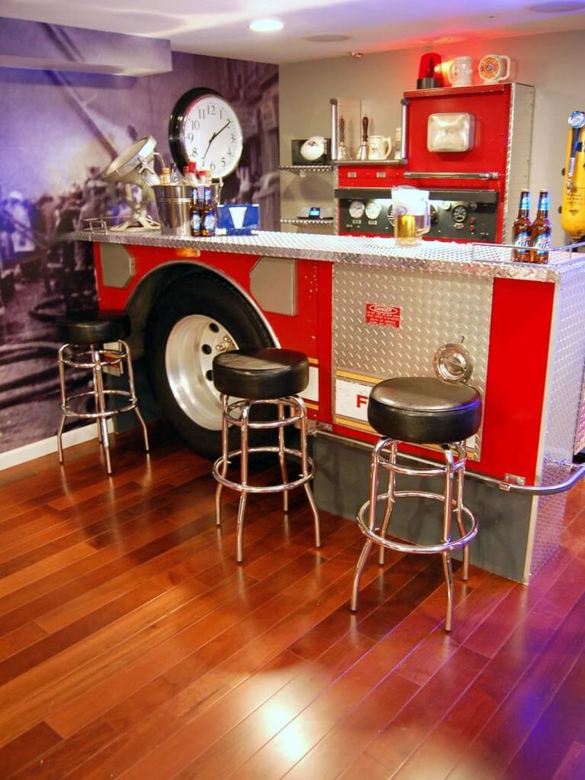 Firefighter home bar