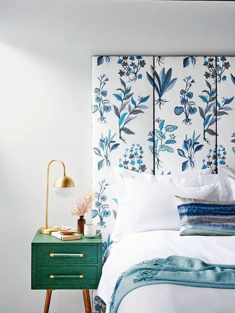 Leaf patterned headboard for bedroom