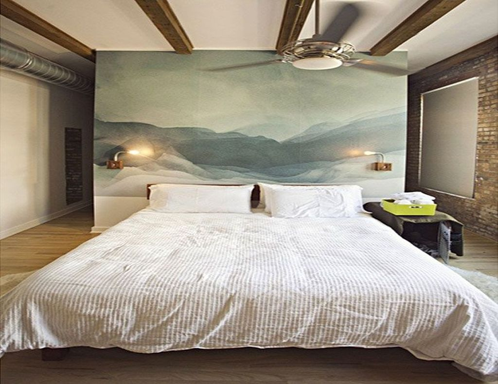 Natural headboard with painting