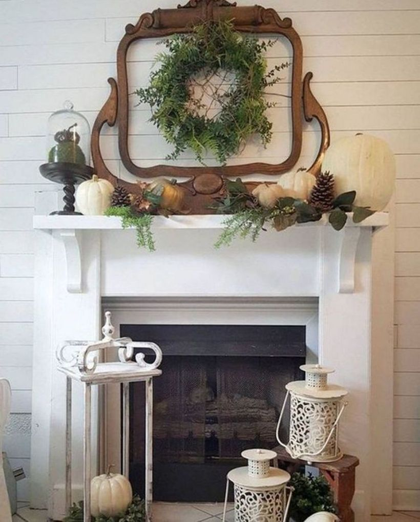 Pumpkin fruit fireplace decoration