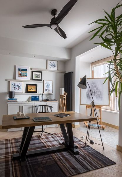 Rectangular wooden table for home office