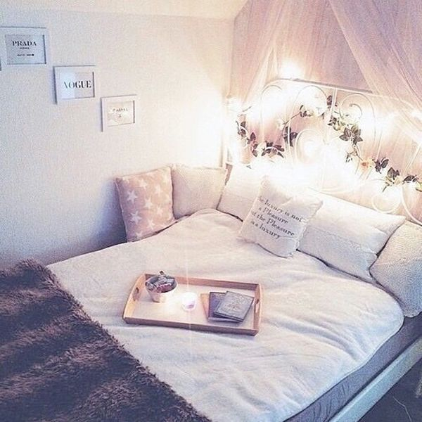 Sweet girl bedroom with flower ornament on the headboard to complete your teen girl bedroom