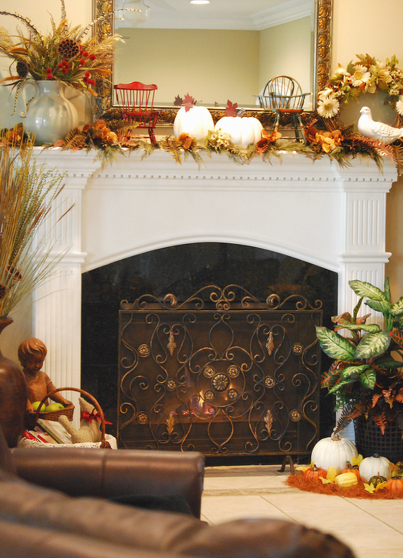 White pumpkin fireplace decoration ideas