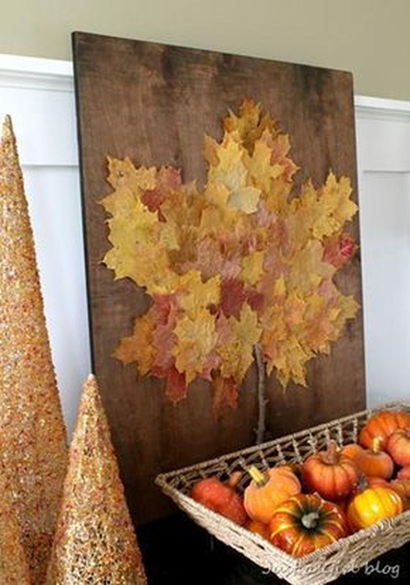 Autumn leaves craft on the wooden board