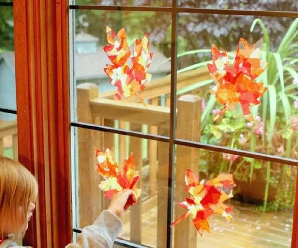 Autumn leaves craft window decoration