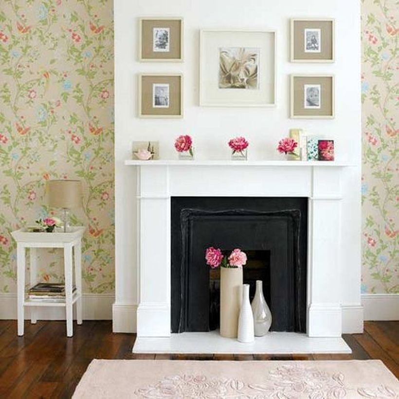 Beautiful rose flowers fireplace decoration