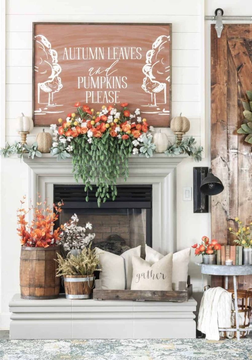 Flowers above the fireplace decoration