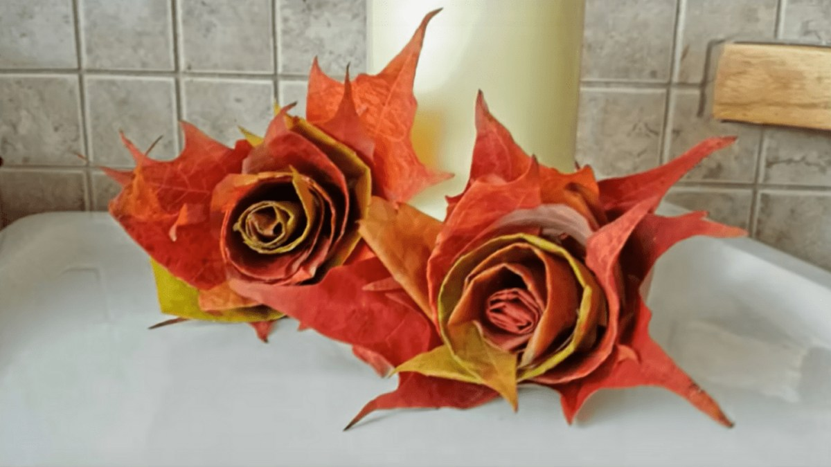 Flowers autumn leaves craft decoration
