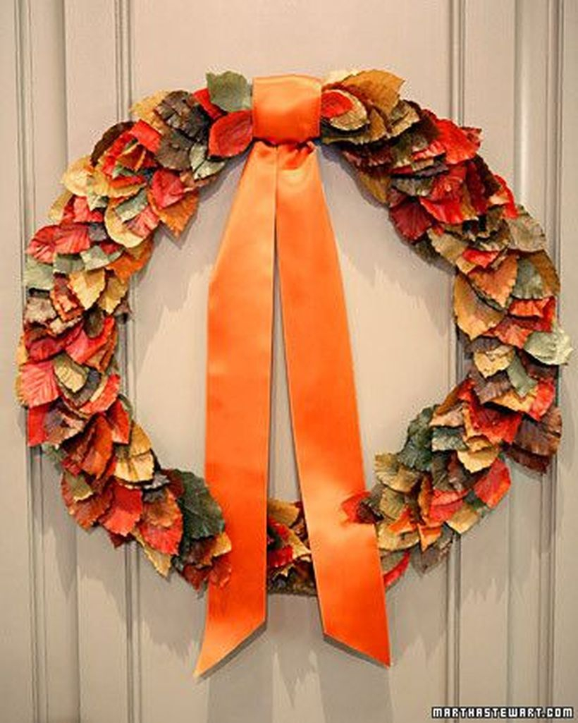 Hanging autumn leaves craft with ribbon