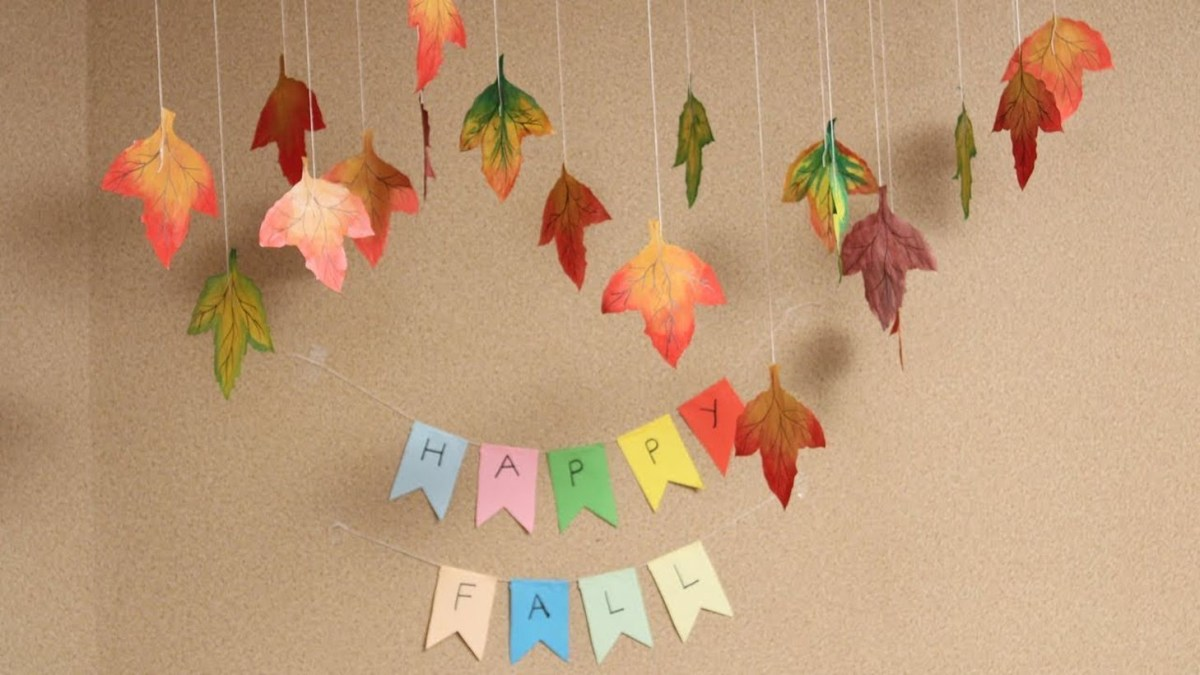Hanging colorful autumn leaves craft decoration