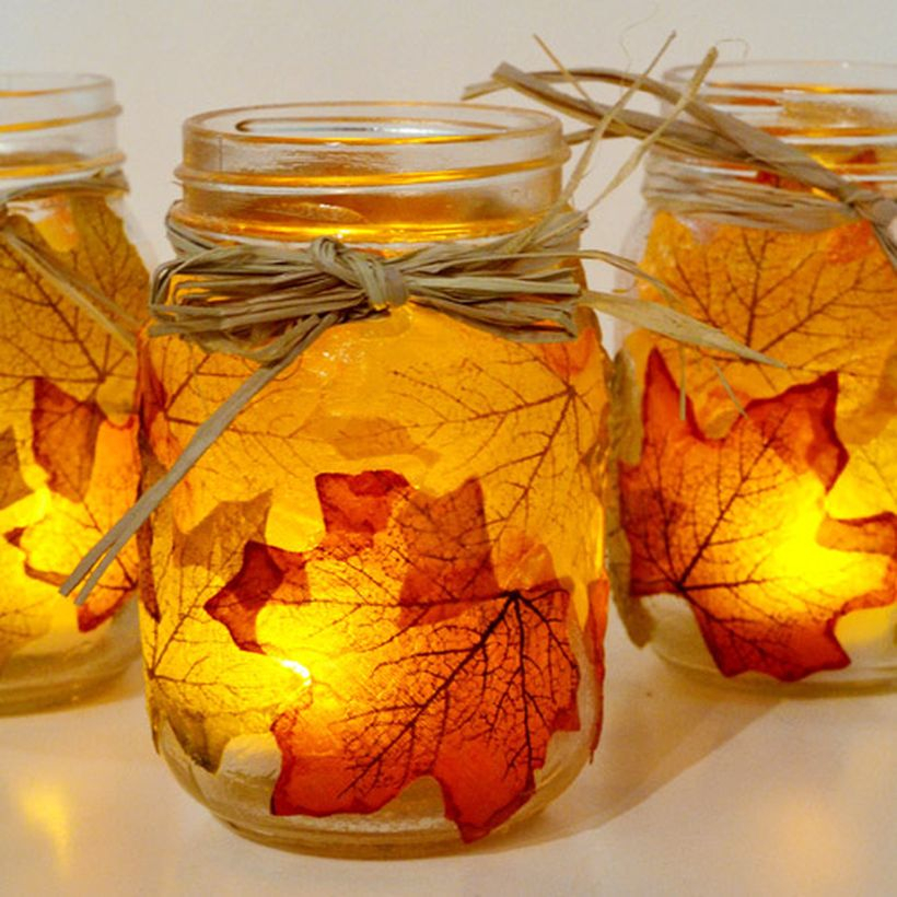 Maple leaf decoupage mason jars fall decor craftgawker