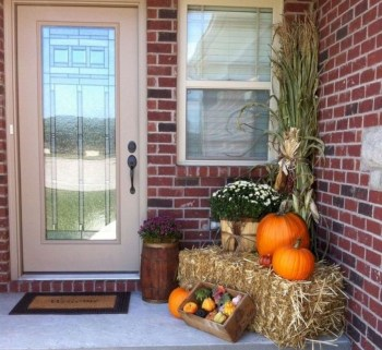 Pumpkins and flower in patio