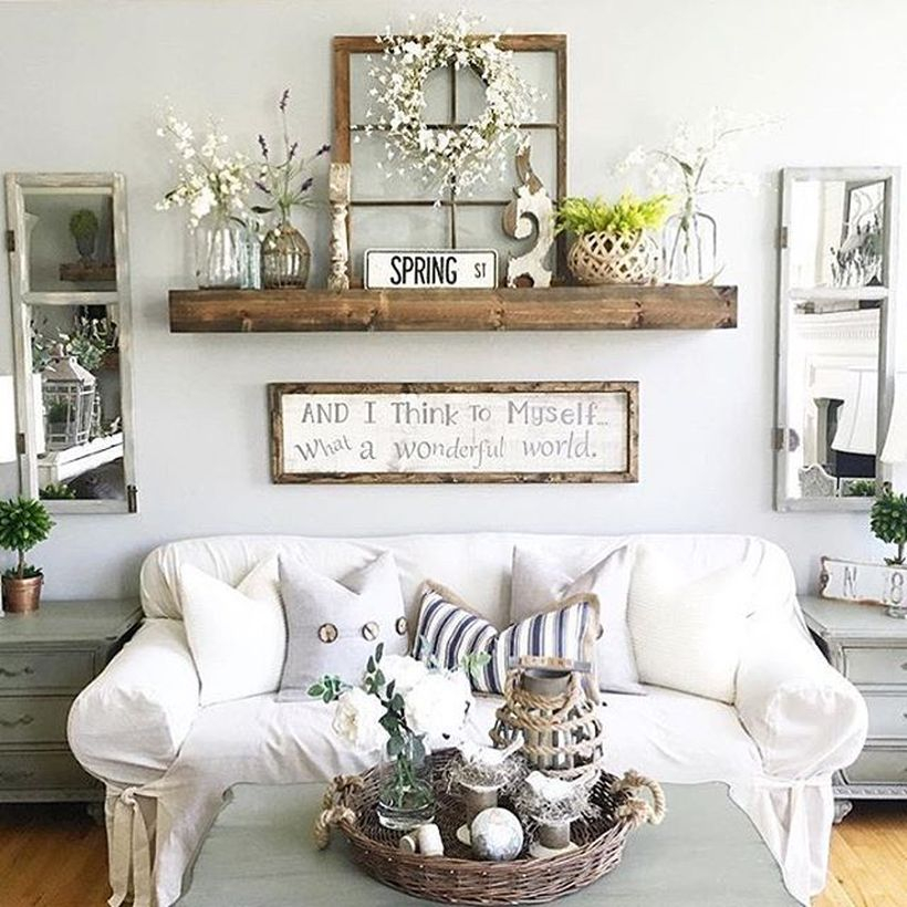 Simple rustic wall art ideas with wooden window frame, a hanging racks to put store houseplant