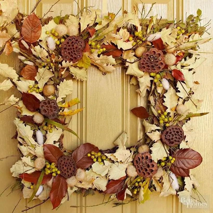 Square autumn leaves craft