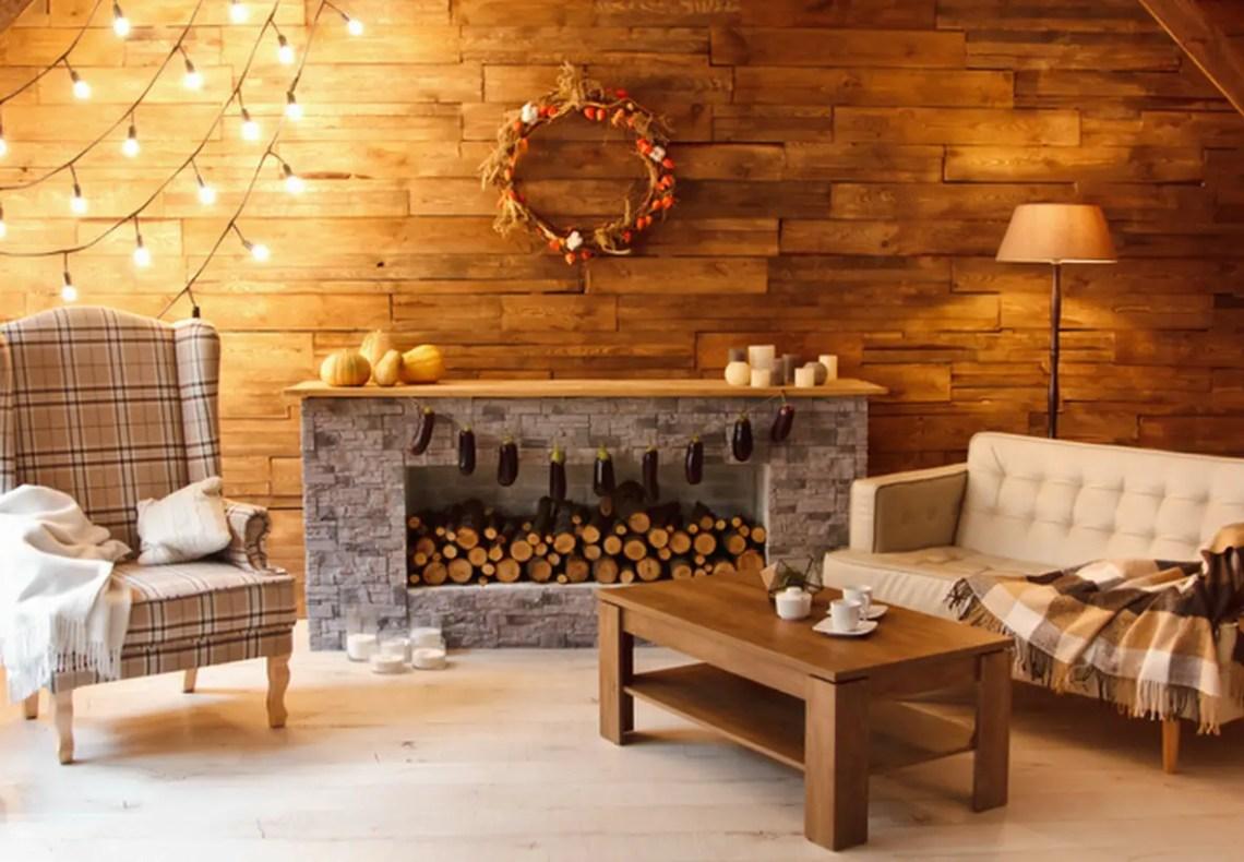String lights fireplace decoration