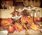 Unique pumpkin and dried leaves centrepiece ideas
