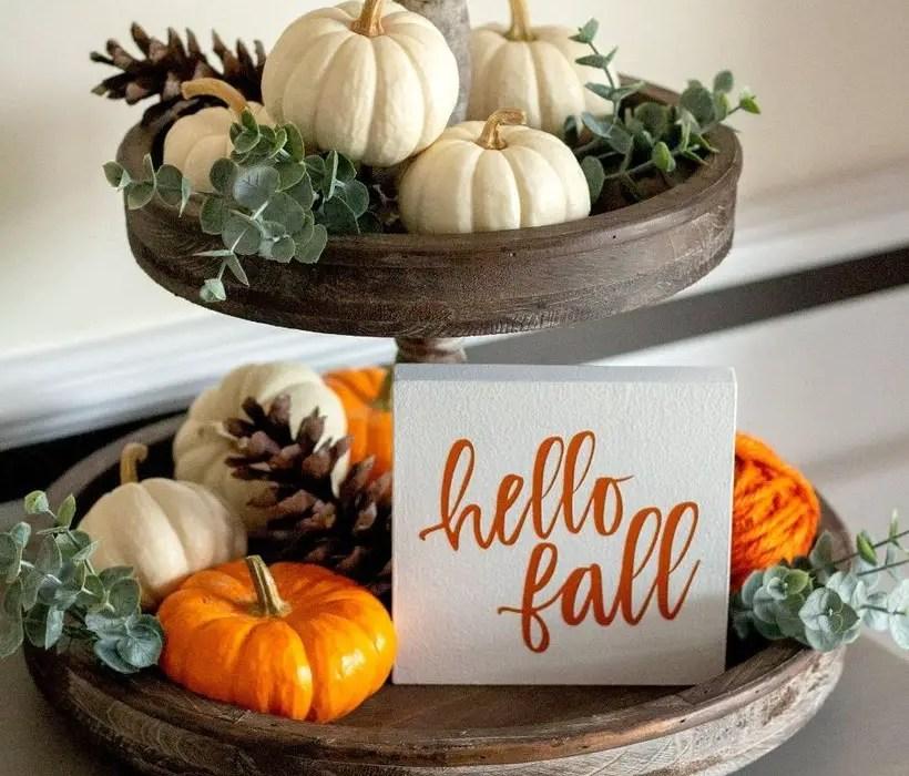 White and orange pumpkins for centerpiece decorate